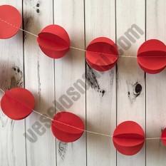 Гирлянда бумажная 3D Шарики (красный)