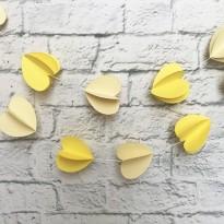 Гирлянда бумажная 3D Сердечки (желтый)
