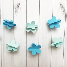Гирлянда бумажная 3D Цветы (голубой)