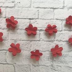 Гирлянда бумажная 3D Цветы (красный)