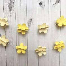 Гирлянда бумажная 3D Цветы (желтый)