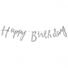 Гирлянда фольгированая Happy Birthday (серебро)