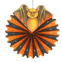 Декор подвесной Летучая мышь с кругом тишью черно-оранжевая