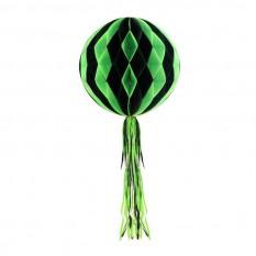 Бумажный шар соты полосатый (30см) зеленый