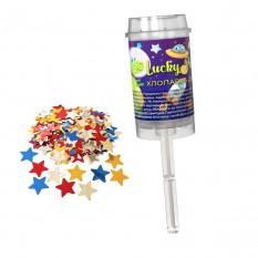 Хлопушка детская поршневая 17,5 см Lucky Party со звездочками