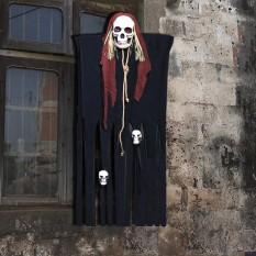 Декор для хэллоуина Призрачный Череп (125см) черный с бордо 10091