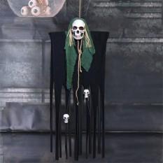 Декор для хэллоуина Призрачный Череп (125см) черный с бутылочно зеленым 10092
