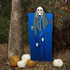 Декор для хэллоуина Призрачный Череп (125см) синий с бутылочно зеленым 10086