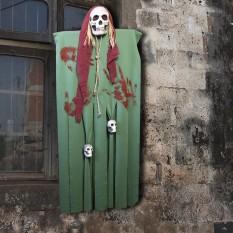 Декор для хэллоуина Призрачный Череп (125см) зеленый с бордо 10087