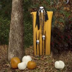 Декор для хэллоуина Призрачный Череп (95см) горчичный с черным 10098