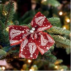 Бант рождественский красный 9237