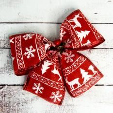 Бант рождественский красный (уп 5шт)  9240