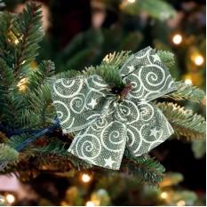 Бант рождественский серебряный 9245
