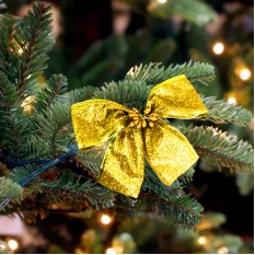 Бант рождественский золотой 9247