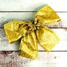 Бант рождественский золотой (уп 7шт) 9248