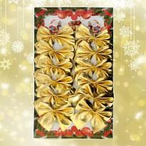 Новогодний декор Бантики (уп. 12шт) золото