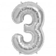 Шарик Цифра (45см) серебро 3