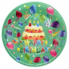 Бумажные тарелки диам.23см Happy Birthday Тортик (уп. 10шт)