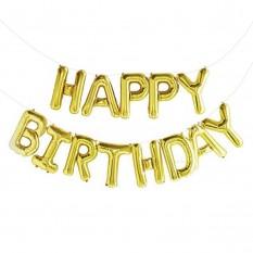 Фольгированные буквы золотые HAPPY BIRTHDAY, 40 см