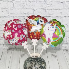 Самонадувающийся шарик Единорог с держателем 15см (уп 12шт)