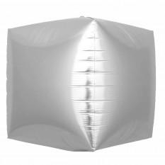 Шар фольгированный 4D куб серебро