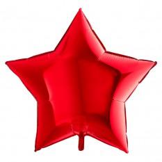 Шарик (45см) Звезда красный в упаковке