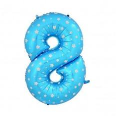 Шарик Цифра голубой (80см) 8