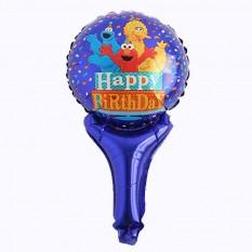 Шарик с надувной ручкой Happy Birthday (мапет)